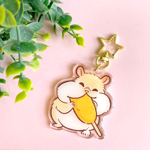 Corn Dog Hamster Keychain