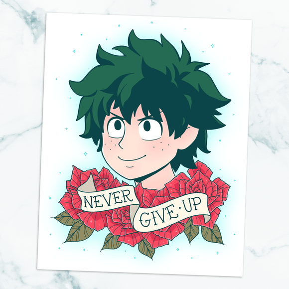 Deku Never Give Up Art Print