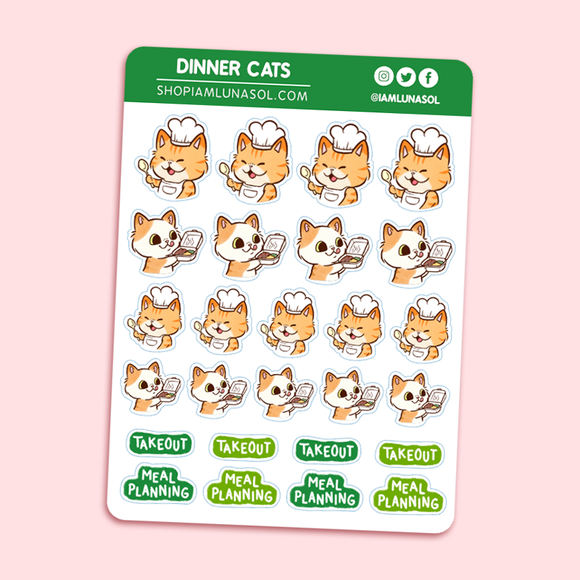 Dinner Cats Sticker Sheet