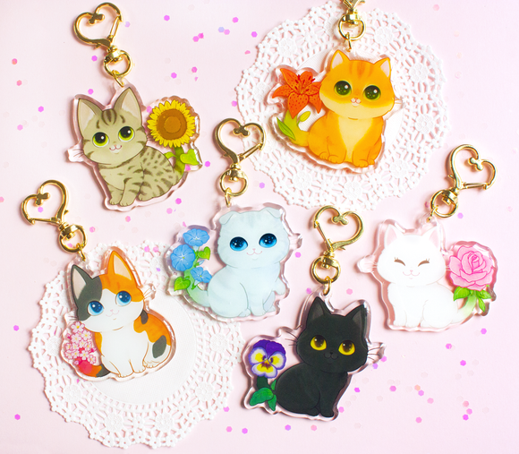 Flower Garden Kitty Keychains