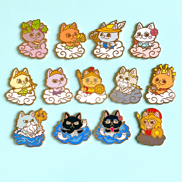 Greek Purrtheon Pins