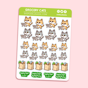 Grocery Cats Sticker Sheet