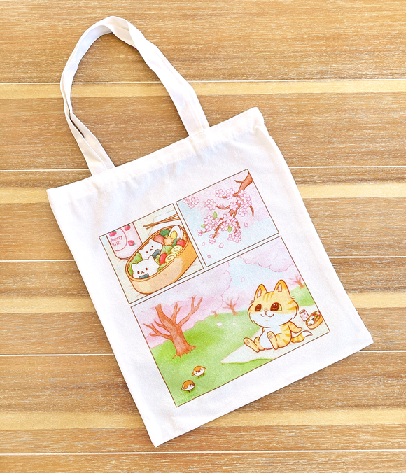 Hanami Cat Tote Bag