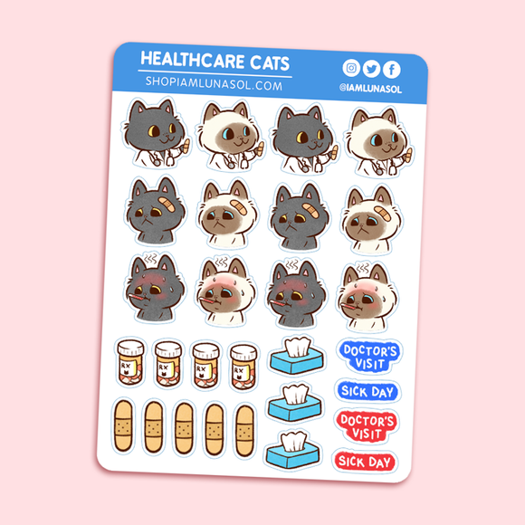 Healthcare Cats Sticker Sheet