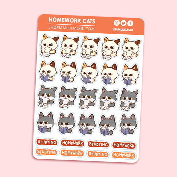 Homework Cats Sticker Sheet
