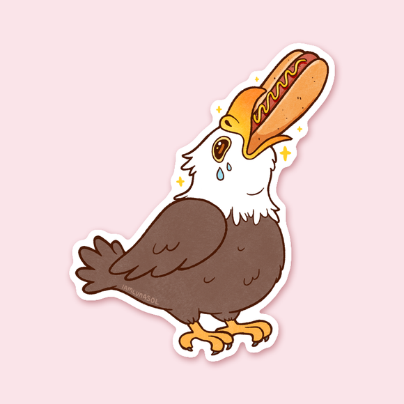 Hot Dog Eagle Sticker