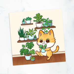 Houseplant Collector Cat Mini Print