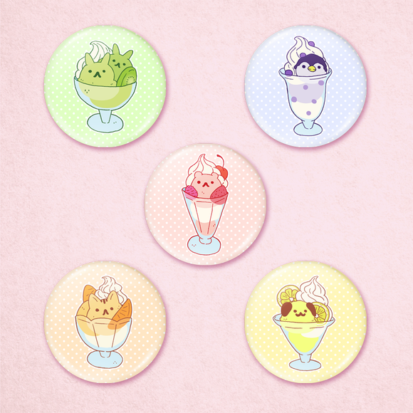 Animal Ice Cream Sundae Buttons