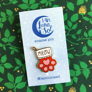 SALE - Christmas Cat Paw Stocking Pin