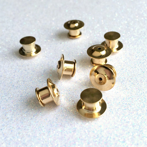 Gold Locking Pin Back