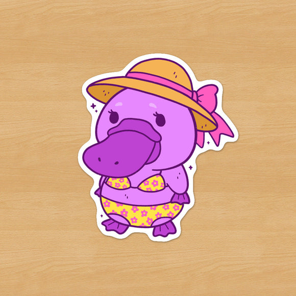 Purple Bikini Platypus Sticker