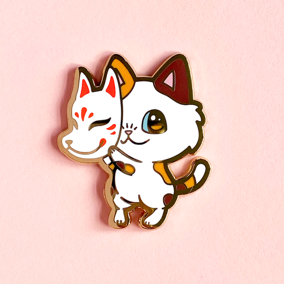 Kitsune Kitty Pin
