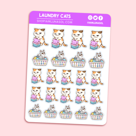 Laundry Cats Sticker Sheet