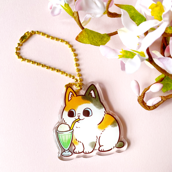 Melon Soda Cat Keychain