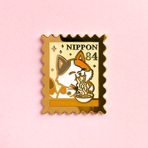 Cats in Japan Postage Stamp Pin