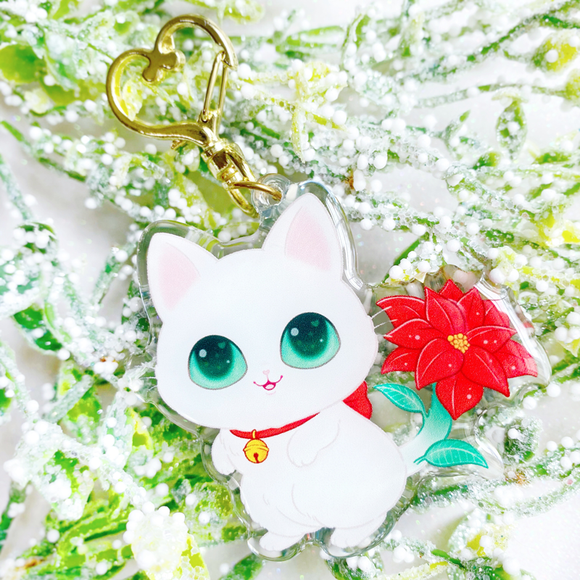 Pointsettia Kitty Keychain