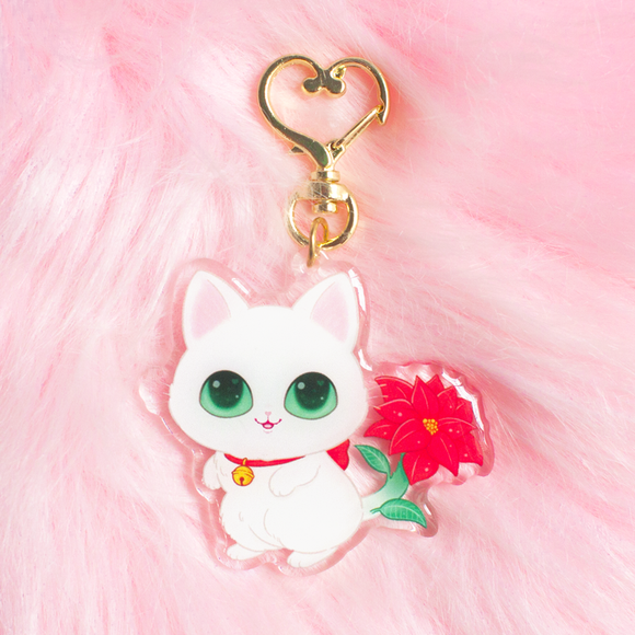 Limited Edition Pointsettia Kitty Keychain