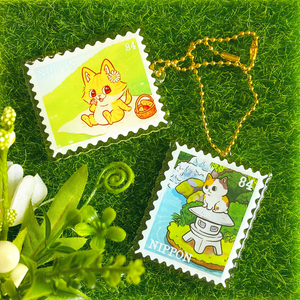 Cat Postage Stamp Keychains