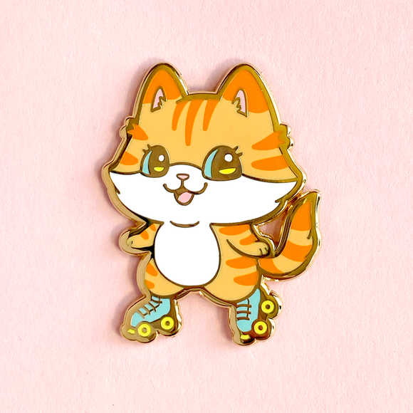 Roller Skating Kitty Pin