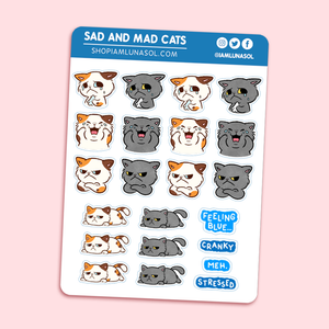 Sad & Mad Cats Sticker Sheet