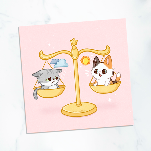 Balancing Mood Kitties Mini Print