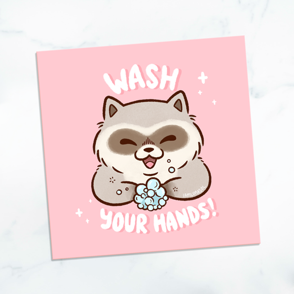 Wash Your Hands Raccoon Mini Print