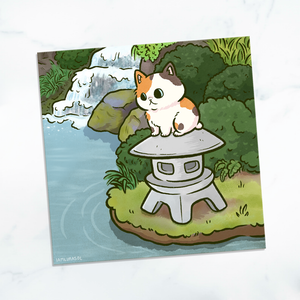 Zen Garden Cat Mini Print