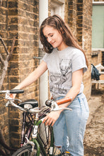 Load image into Gallery viewer, Model Chasing Deer Grey T-shirt on bike