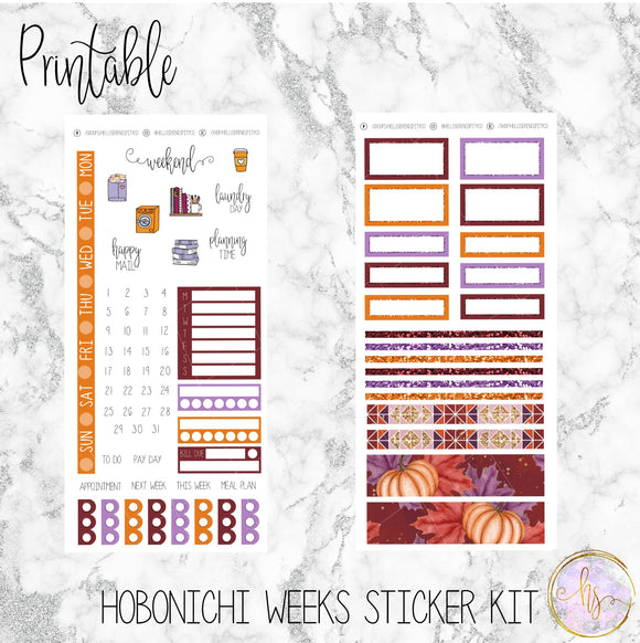 Hobonichi Weeks Autumn Harvest Printable Planner Stickers