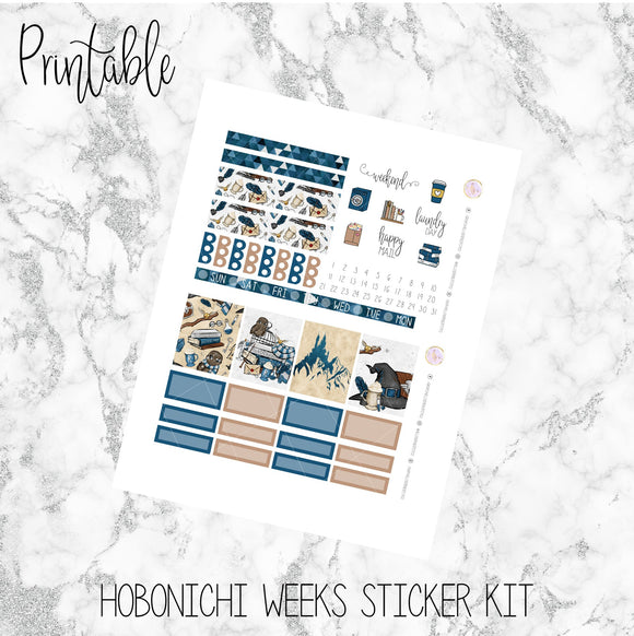 Hobonichi Weeks Blue House Printable Planner Stickers