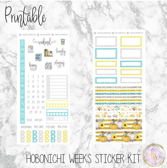 Hobonichi Weeks Farmhouse Pumpkin Printable Planner Stickers