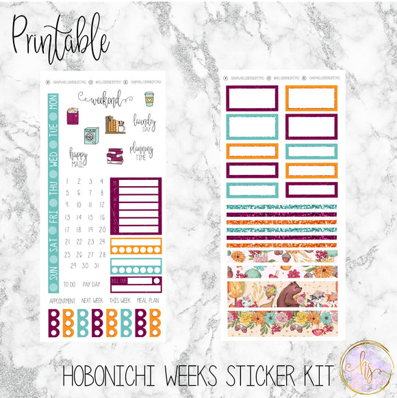 Hobonichi Weeks Forest Friends Printable Planner Stickers