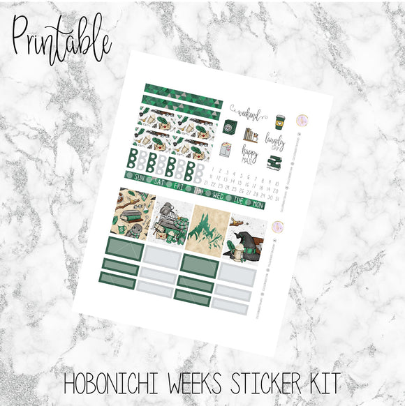 Hobonichi Weeks Green House Printable Planner Stickers