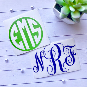 Custom Standard Vinyl Monogram Decal