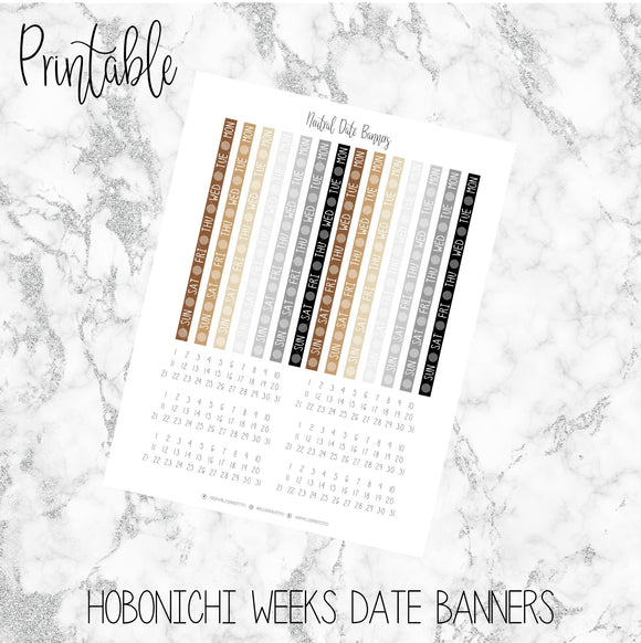 Hobonichi Weeks Neutral Date Covers Printable Planner Stickers
