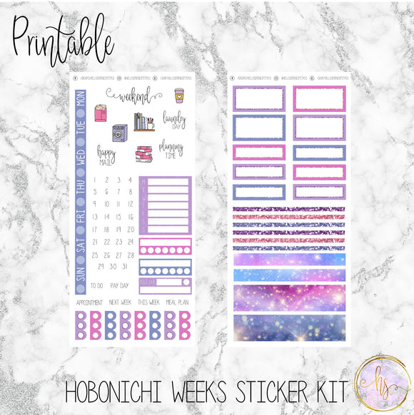 Hobonichi Weeks Pastel Galaxy Printable Planner Stickers