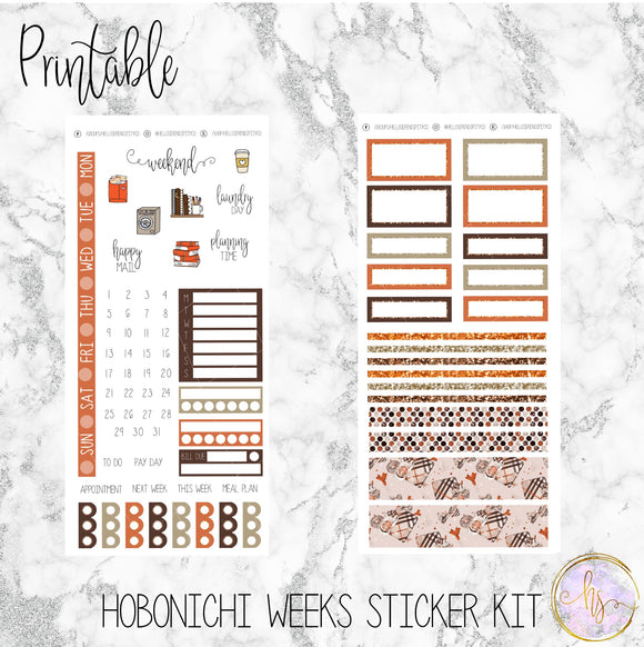 Hobonichi Weeks Pumpkin Spice Plans Printable Planner Stickers