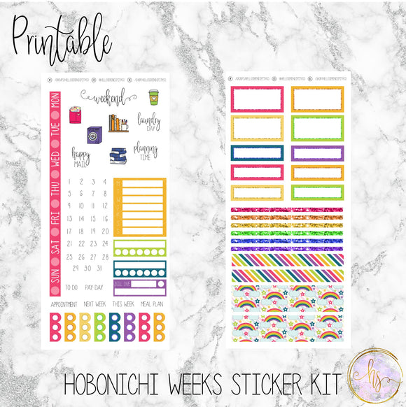 Hobonichi Weeks Rainbow Printable Planner Stickers