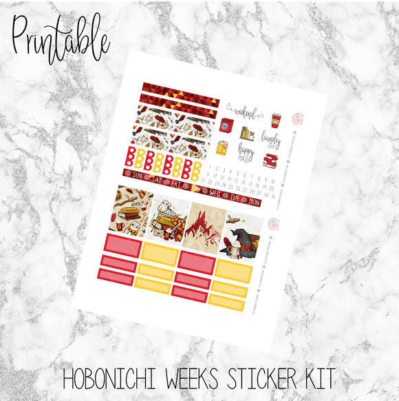 Hobonichi Weeks Red House Printable Planner Stickers
