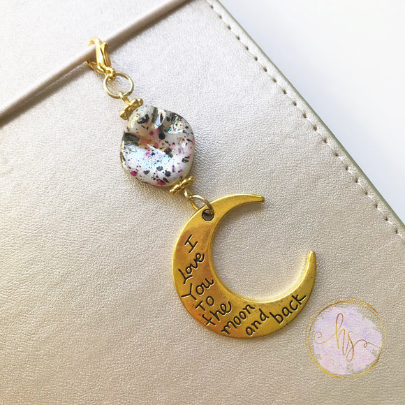 To the Moon and Back Beaded Planner Charm