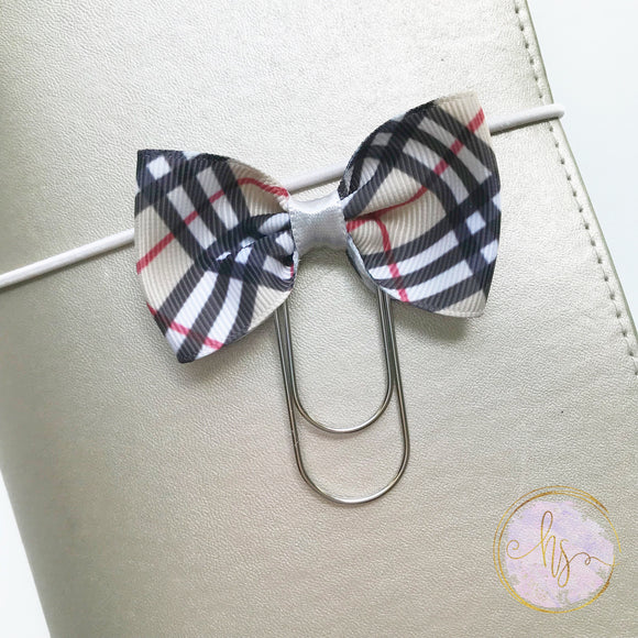 Taupe Plaid Bow Clip
