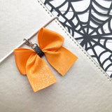 Orange and Black Bow Charm and Clip