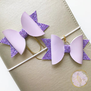 Purple Color Changing Faux Leather Clip and Bow
