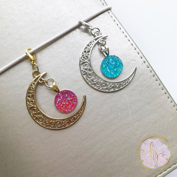 Druzy Moon Planner Charms