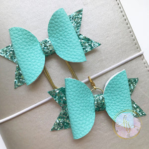 Teal Faux Leather Clip and Bow
