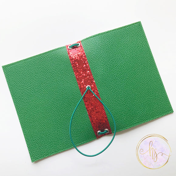 Pocket Sized Green with Red Spine Traveler's Notebook Cover