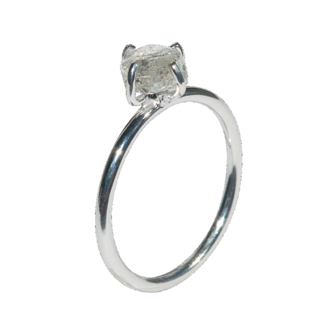 lightweight 18k white gold rough diamond engagement ring