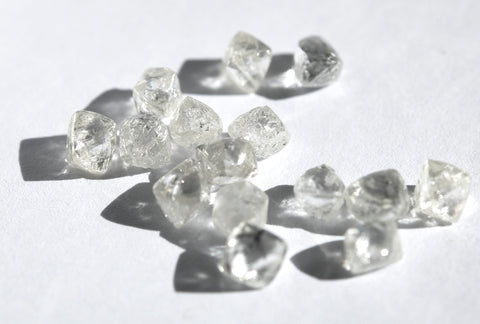 Octahedron and dodecahedron rough diamonds