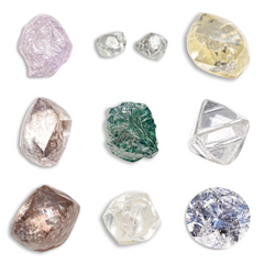 Lots of rough diamonds and raw diamonds and colored diamonds
