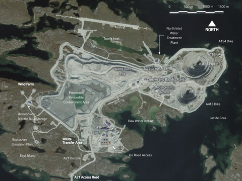 Aerial map of the Canadian Diavik Diamond Mine